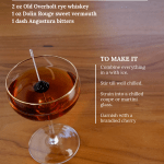 Manhattan cocktail on wood table with overlay of text about post.