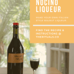 Bottle of nocino and tasting in a Nick and Nora glass sitting on a table in front of a window. Overlay of post title.