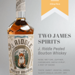 Bottle of J. Riddle Peated Bourbon from Two James Spirits on grey seamless background with tasting notes overlay.