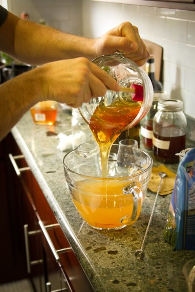 DIY Forbidden Fruit Liqueur -- Adding the Honey Mixture