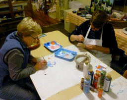 Creating painted personalized snowmen ornaments