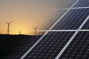 Wind turbines and solar panels for net-zero carbon emissions