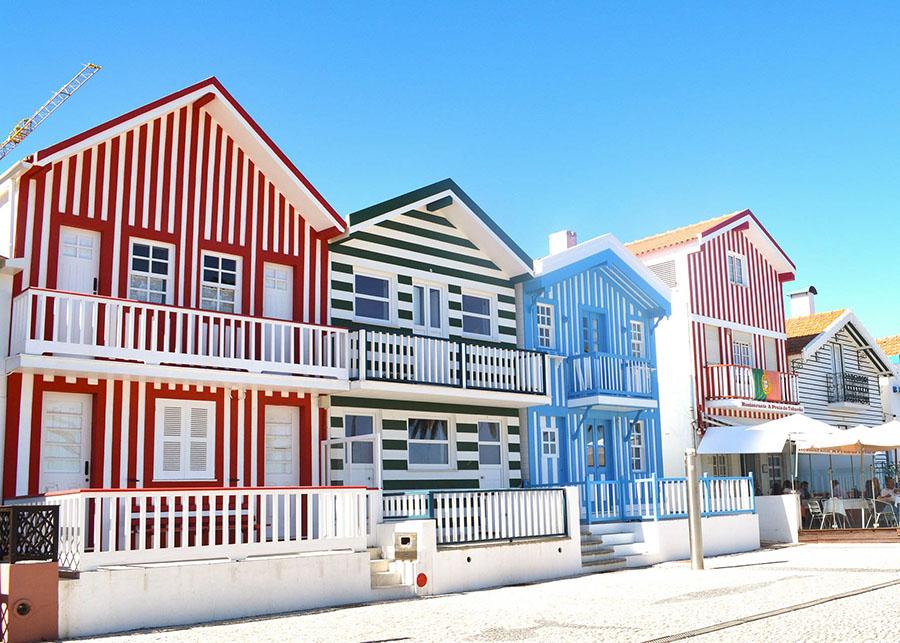 Beautiful colourful buildings of Aveiro Portugal