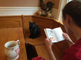 This is me reading the book to Ninja
