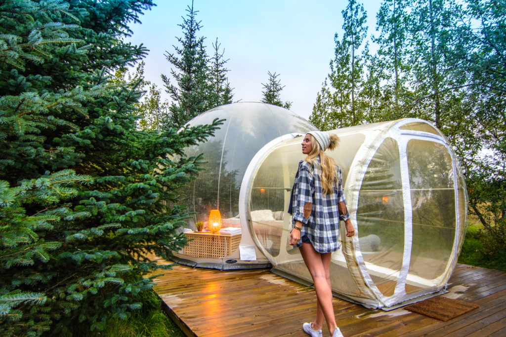 a hotel room in the shape of a bubble in iceland