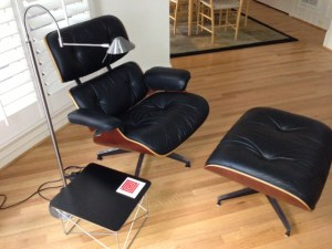 Our classic Eames Lounge chair, ottoman, and table