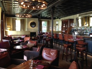 Tin ceilings of Farley Bar