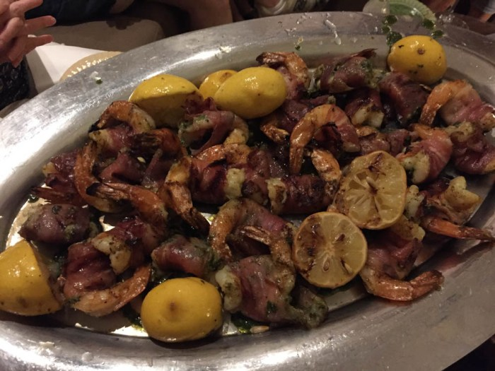 Ted Robinson's prosciutto-wrapped shrimp