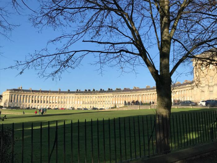 Royal Crescent with fence in Bath