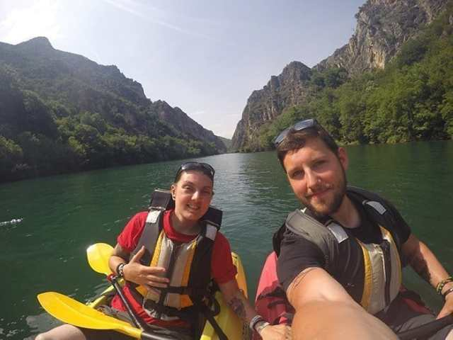 Balkan backpacking, backpacking the Balkans, Balkans trip, Balkan backpackers, off the beaten track Europe, Matka canyon, Matka kayaking, Kayak Matka, Matka canyon tour, Macedonia, Matka Skopje, Matka canyon boat trip, Kayak Matka, Matka canyon cave, Matka canyon tour, Visit Skopje, Matka Gorge, Skopje to Matka Canyon, Kayaking for 3hrs down the amazing Matka Canyon to discover the amazing hidden cave on the water! Macedonia, adventure, skopje, things to do in skopje, things to do outside of skopje, day trips, how to get to match canyon from skopje, hike, climbing, climb, trails, monastery, Vrelo Cave, dam, kayak, ferry, travel, backpacking, travelling, traveling, europe, balkans, Eastern Europe, Things to do in Skopje, Things to do in Macedonia, off the beaten track Europe, off the beaten path Europe, alternative places to visit in Europe, adventure travel, kayaking Macedonia, Kayaking Balkans, Kayaking Eastern Europe, cheap destinations in Europe.