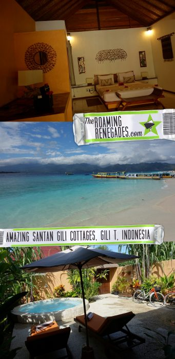 The paradise resort of Santan Gili Cottages on the tiny Indonesian island of Gili Trawangan, Gili Air, Gili Meno, how to get to the Gili islands, turtle, snorkel, SCUBA, bikes, Bali, Lombok, Indonesia, Backpacking, hippy, cottages, best accommodation,