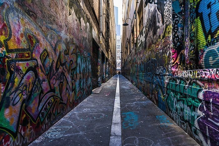 Melbourne 5 day itinerary: best places to visit in Melbourne. Union Lane laneway with graffiti and street art.