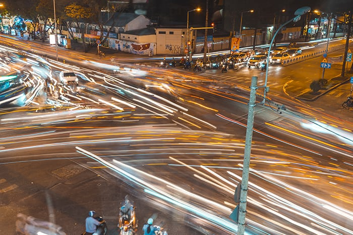 Light trails from traffic in Saigon. 3 weeks in Vietnam, Vietnam itinerary: 3 weeks, 3 week Vietnam itinerary