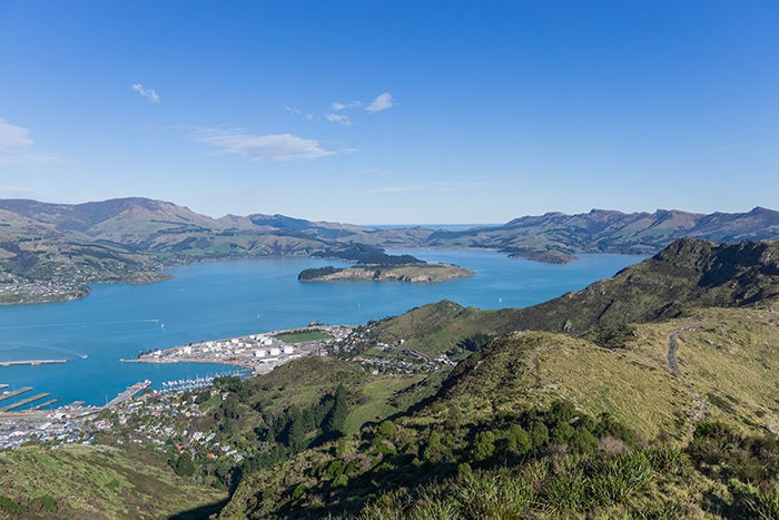 View down over lyttelton and the banks peninsula from the Port Hills (day trips from Christchurch, Christchurch day trips, places to visit near Christchurch, things to do in Canterbury New Zealand, visit Christchurch)