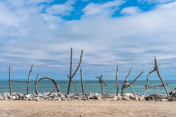 Hokitika wood art, sea, west coast New Zealand,