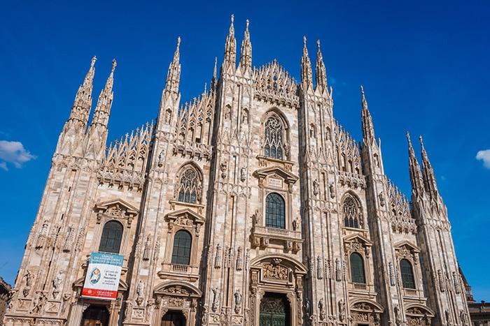 detailed facade of the milan duomo. (Milan 2 days, Two days in Milan, Milan in 2 days, What to do in Milan for 2 days, 2 days in Milan, 2 days in Milan itinerary, Milan itinerary 2 days, Milan city break, A weekend in Milan, How many days in Milan)