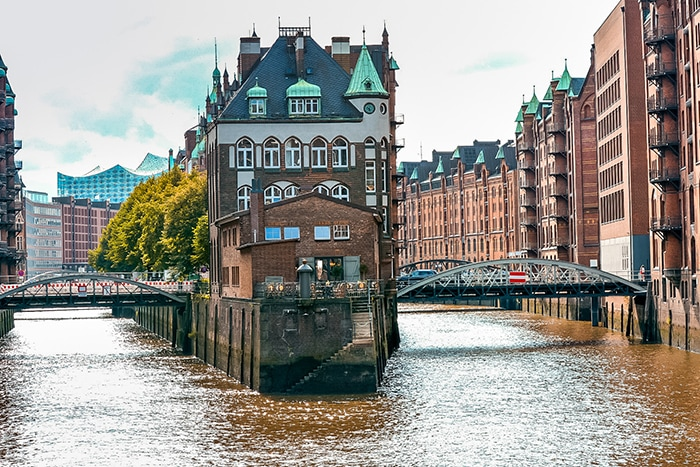 The warehouse district of hamburg and its canals. (One day in Hamburg, Hamburg in one day, 1 day in Hamburg, 24 hours Hamburg, Hamburg itinerary, things to do in Hamburg, weekend in Hamburg)