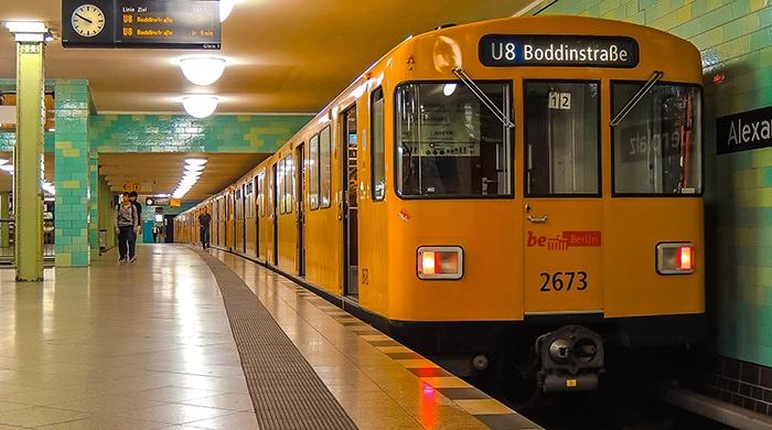 A u-bahn train and station in Berlin (2 days in Berlin, Things to do in Berlin, 2 days in Berlin itinerary, Berlin 2 days itinerary, Berlin in two days, 48 hours in Berlin itinerary, What to do in Berlin in 2 days, Berlin 2 days, Things to do in Berlin, backpacking Berlin, cheap, budget Berlin, Germany)