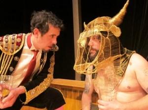 Drew Dowdy (left) and Charles Reynolds square off in The Matador on the Waldron Stage.
