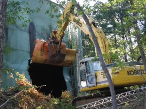 Demolition begins on the old water tower atop South Peak in Roanoke County.