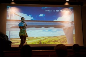 Shayan Malik, a senior majoring in mechanical engineering from Leesburg, Virginia, describes the Hyperloop project.