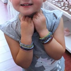 Child wrist sized bracelets rose quartz amethyst hematite serpentine opalite