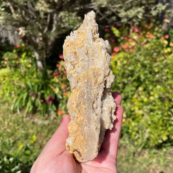 clear quartz cluster in matrix in elestial form from Brazil