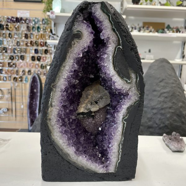 amethyst cave with calcite and cacoxenite