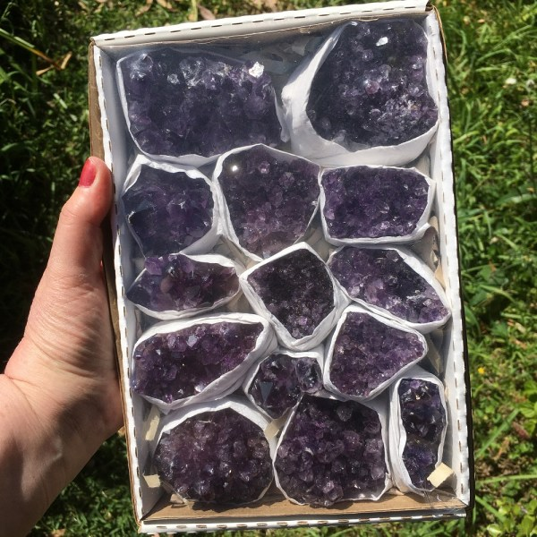 buy box of amethyst clusters from Brazil in Australia