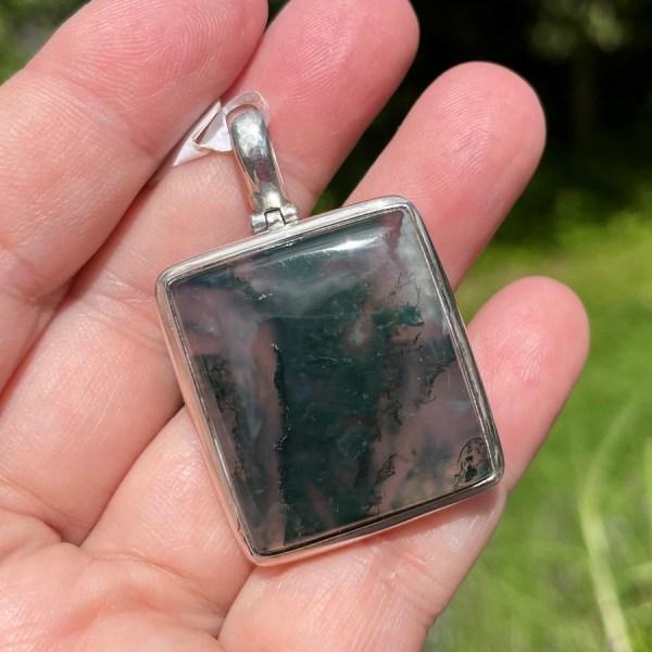 Moss Agate Pendant - Silver