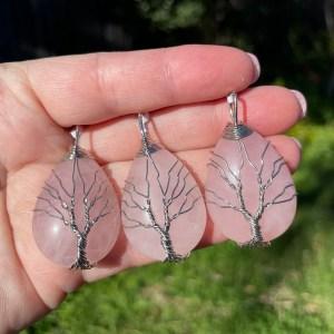 rose quartz tree pendant