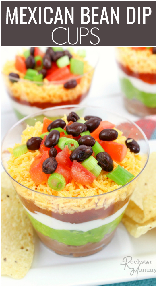 Mexican Bean Dip Cups RECIPE -- The Rockstar Mommy -