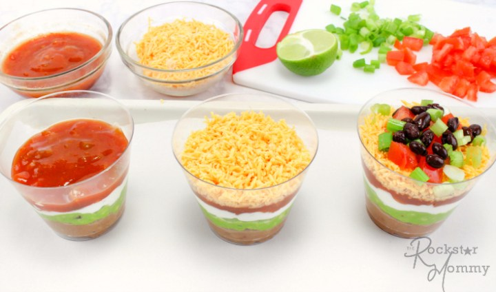 Mexican Bean Dip Cups - Salsa, cheese and topping in cups