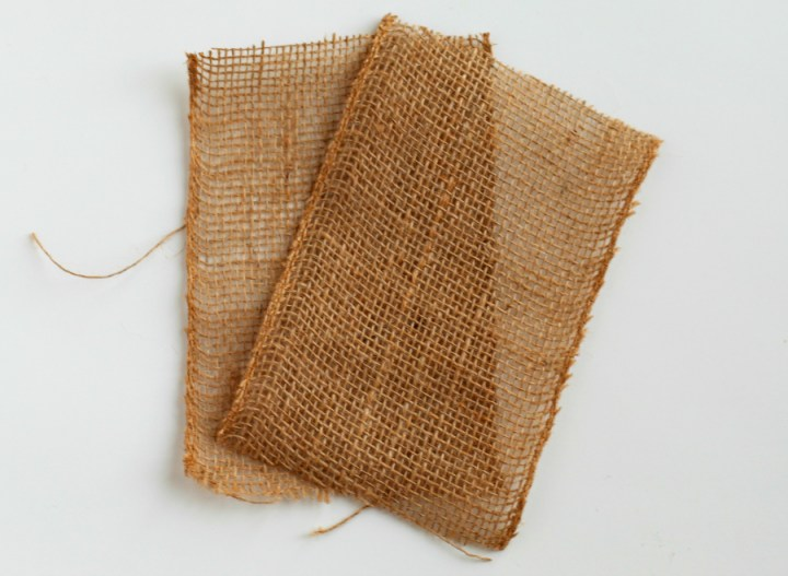 Scarecrow Halloween Goodie Bags - Burlap squares cut out