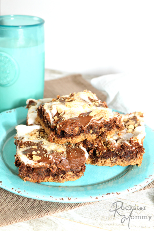 S'mores Brownies stacked on a blue plate