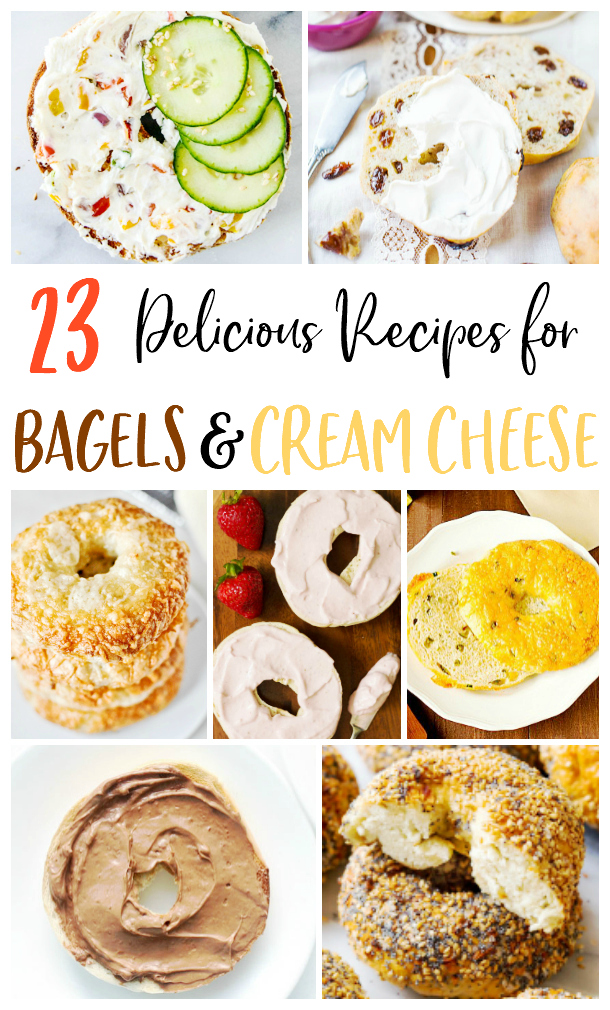 collage image of 7 different bagels and cream cheeses