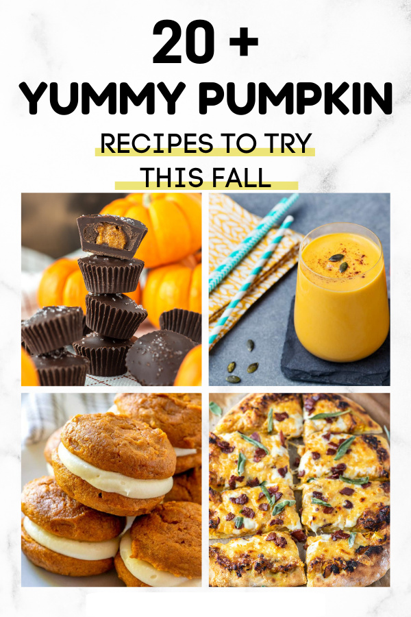 collage image of 4 different pumpkin recipes