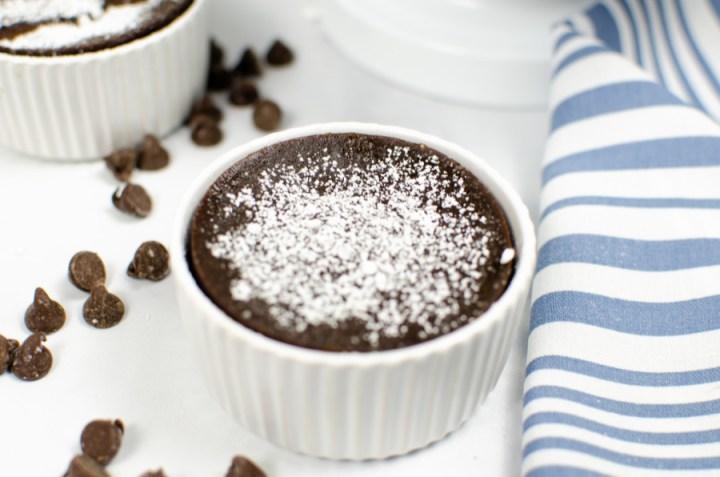 Chocolate lava cake in a ramekin