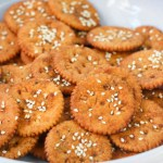 zesty ritz crackers in a white bowl