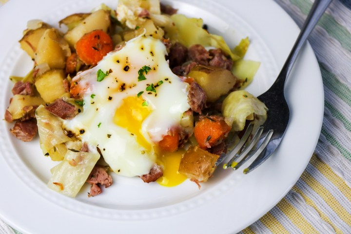 serving of corned beef and cabbage breakfast hash on