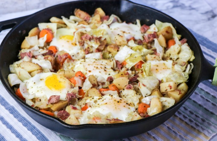 Corned Beef and Cabbage Hash in a cast iron skillet