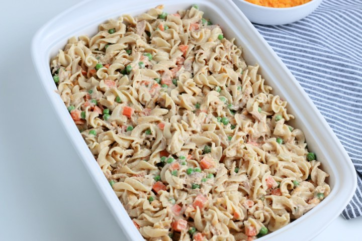 noodle and tuna mixture in a baking dish