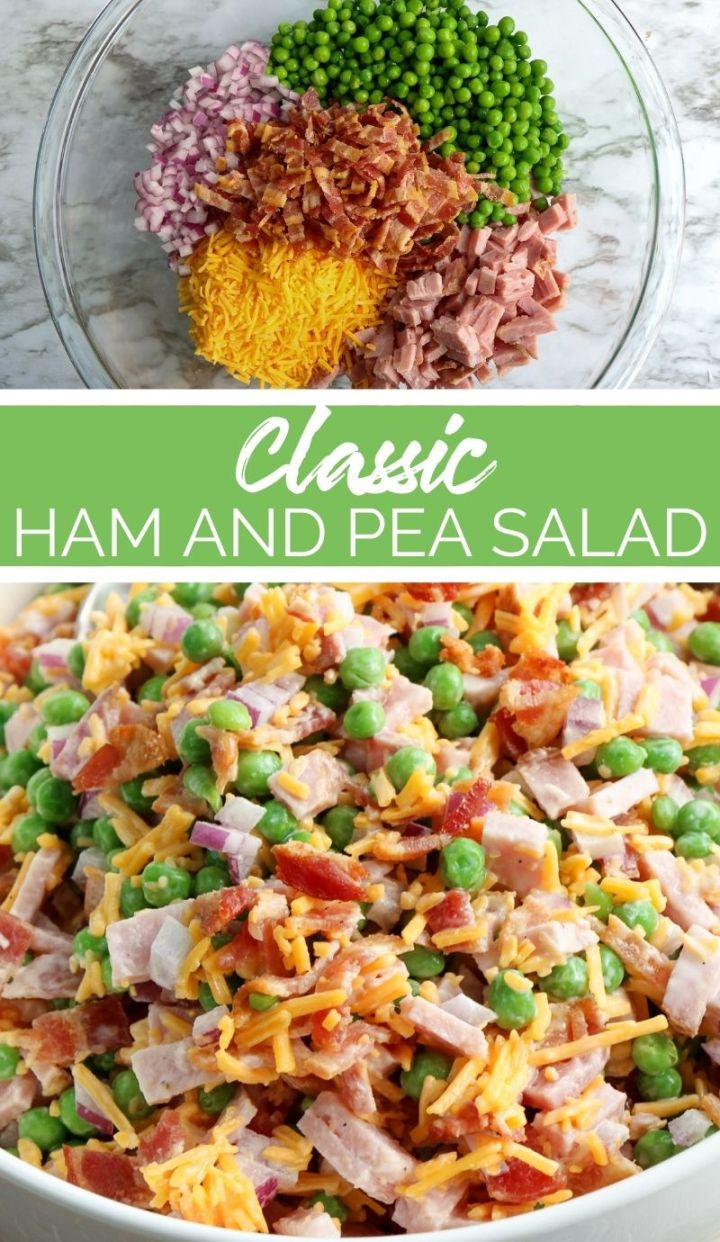 This Classic Ham and Pea Salad is perfect for preparing for an upcoming barbecue or celebratory feast like Easter.