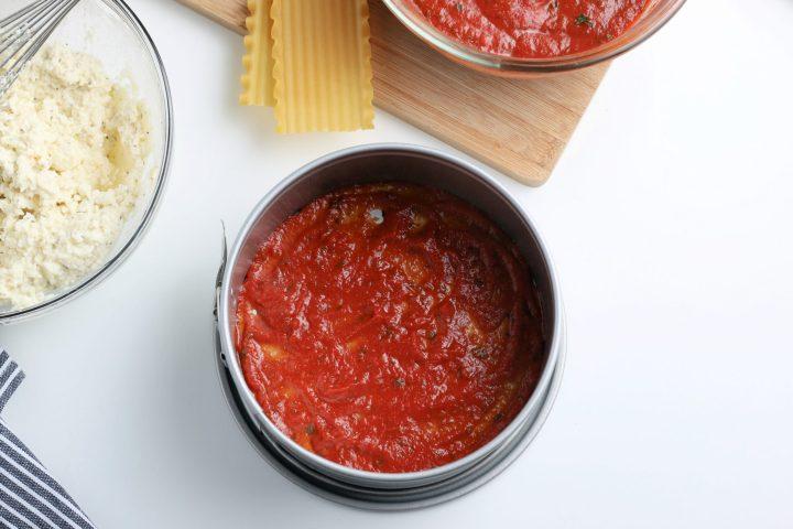 red sauce in springform pan