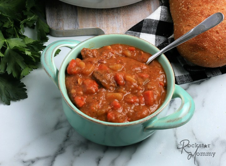 Irish beef stew in a bowl