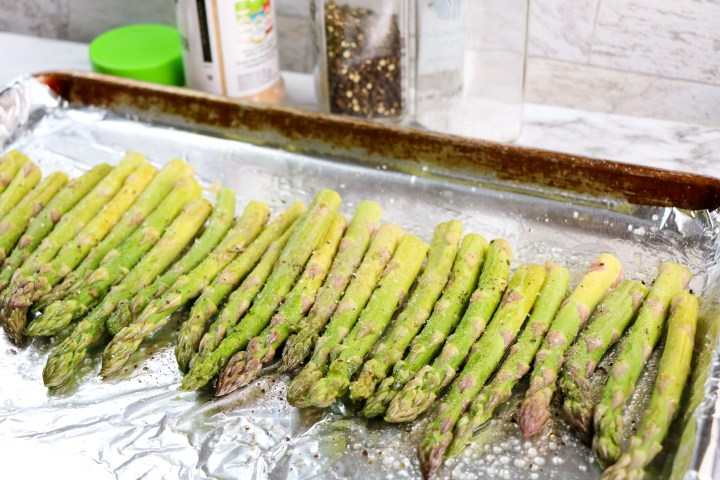 asparagus  on foil lined baking pan
