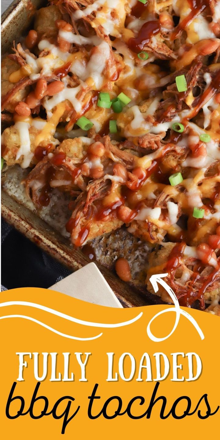 These Loaded BBQ Totchos have a crispy potato foundation topped with BBQ pork, baked beans, shredded cheese and sticky BBQ sauce!