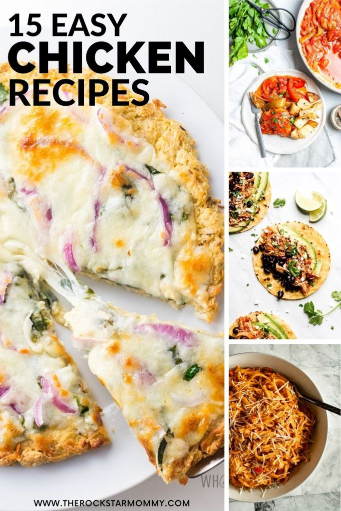 Collage of 15 Easy Chicken Recipes