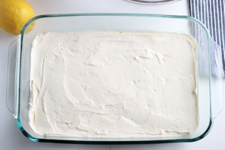 creamy mixture added to baking pan