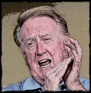 "Broadcaster Vin Scully singing ""Take Me Out to the Ballgame"" during the traditional ""7th inning stretch"" during a spring training game in Arizona, 2008."